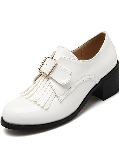 ZQ hug Scarpe Donna-Scarpe col tacco-Tempo libero / Casual-Tacchi / Punta arrotondata-Quadrato-Vernice-Nero / Bianco / Borgogna , white-us10.5 / eu42 / uk8.5 / cn43 , white-us10.5 / eu42 / uk8.5 / cn4 black-us6 / eu36 / uk4 / cn36