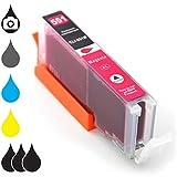 Druckerpatrone Tintenpatrone CLI-551M XL mit Chip Füllstandsanzeige kompatibel für Canon Pixma Tintenstrahl-Drucker – 15ml Magenta rot