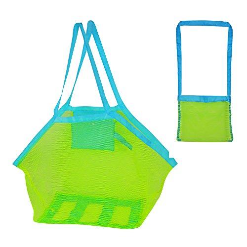 QUMAO - (1 Grande + 1 Piccola) Borsa Sacchetto Rete Grande Portatile Porta Giochi Palle Spiaggia Organizzatore Stoccaggio Scatola dei Giocattoli