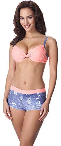 aQuarilla Damen Bikini Set AQ124(Blau Jeans/Lachs, 40) (Shorts Holiday Boxer)
