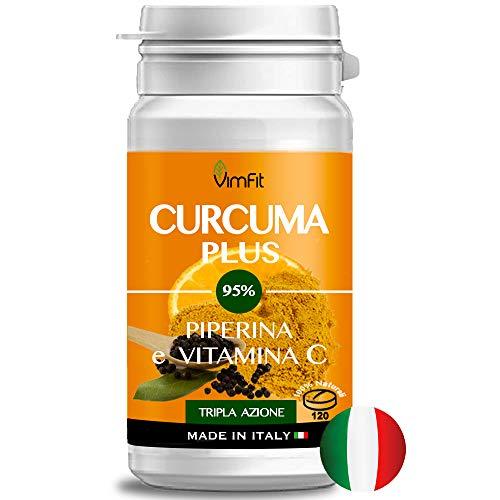 Vimfit CURCUMA E PIPERINA PLUS vitamina C | 120 cpr naturali alto dosaggio di curcumina 95% | Tripla azione: Antinfiammatorio Antidolorifico Antiossidante | Qualità certificata Made in Italy