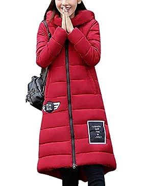 LaoZan Mujer Outerwear Espesar Abrigo largo Abrigo de abrigo de invierno Chaqueta con capucha XX-Large Rojo