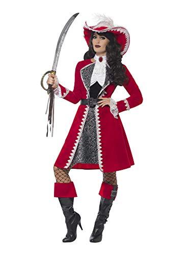 Smiffys Disfraz de capitana auténtica de Lujo, Rojo, con Vestido, Chaqueta, Corbata y fu