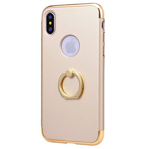 Yokata Cover per iPhone X Placcatura Custodia per iPhone X gel Silicone Case Durevole PC Backcover Protettiva Caso Premium Ultra Sottile Protezione Shell con Ring Stand + Penna - Nero Oro