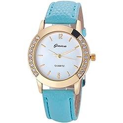 WINWINTOM Women Diamond Analog Leather Quartz Wrist Watch Sky Blue