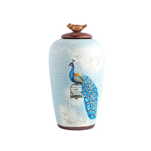 QIQIDEDIAN Wohnzimmer Dekoration Wohnaccessoires Keramik Kreative Handwerk Fernsehschrank Wein Kabinett Display (Color : Ceramic-Blue, Size : 36cm*19cm) -