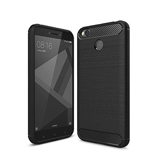 Redmi 4, MI 4, XIAOMI REDMI 4, XIAOMI MI4 Back Cover Hybrid Black + Tempered Glass (Combo Pack) by CANYON