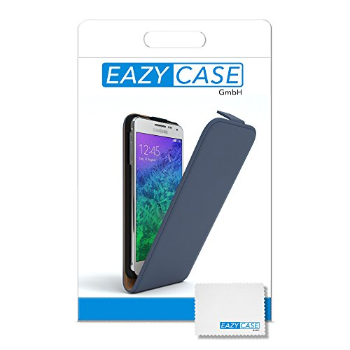 Samsung Galaxy Alpha Hülle - EAZY CASE Premium Flip Case Handyhülle - Schutzhülle aus Leder zum Aufklappen in Hellblau Dunkelblau