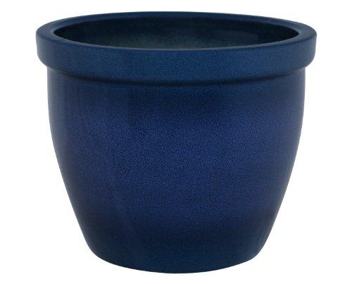 K&K Blumenkübel / Pflanzgefäß / Blumentopf / Pflanzkübel Venus II , 19 x 15 cm, blau-geflammt aus Steinzeug-Keramik (hochwertiger als Steingut)