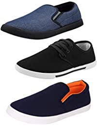 Bersache Men's Canvas Casual Loafer Shoe With Sneaker Combo - Pack Of 3 (Multicolour)