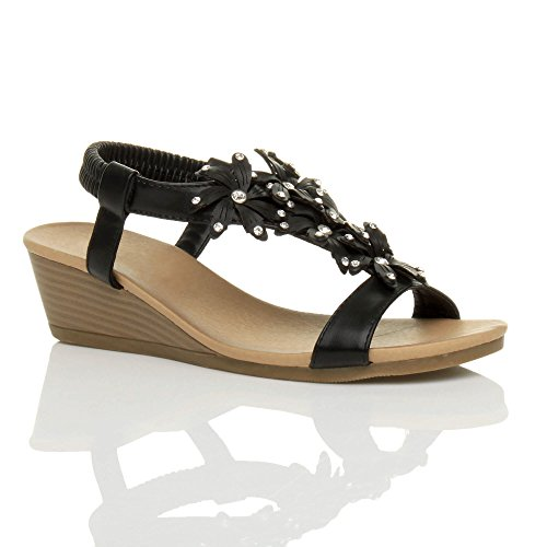 Damen Mittlerer Keilabsatz Slingbacks Blume Zehentrenner Sommer Sandalen Größe Schwarz