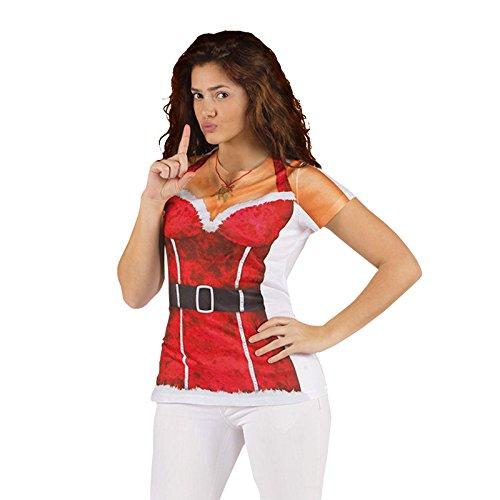Weihnachtsfrau Girlie Shirt Santa Claus Fun Shirt für Damen Kostüm - (Claus Kostüme Shirt Erwachsene Santa)