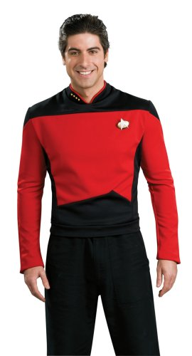 Deluxe Star Trek The next Generation Kostüm Uniform rot rote Trekkiuniform Trekki mit Rangabzeichen Rang Abzeichen Föderation Deep Space Nine USS Enterprise Enterpriseuniform Commander Gr. L, M, XL, Größe:M