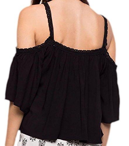 erdbeerloft Damen Kurzes Schulterfreies Weites Shirt, 3442, Viele Farben  Schwarz