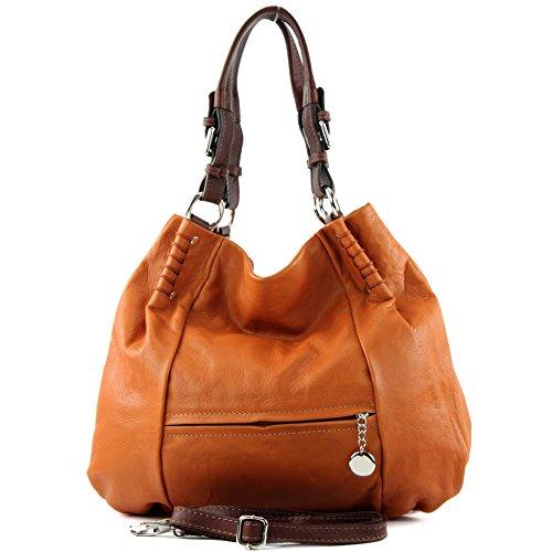ital. Handtasche Schultertasche Tragetasche Echt Nappaleder Damen Tasche T13 Camel/Braun