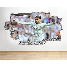 Ronaldo del Real Madrid Muelen Boys Mural para pared de dormitorio vinilo adhesivo arte 3d pegatinas (Tamaño Grande) (90x 52cm.)