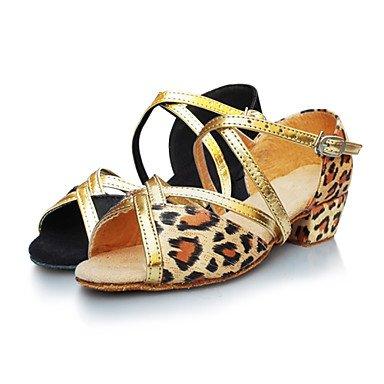 Silence @ Femme/enfants Chaussures de danse latine en satin Talon bas Doré/léopard Noir/doré