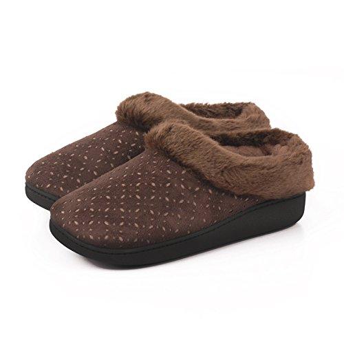 En automne et en hiver, maison pantoufles, femmes, coton, doux, confortable, chaud, insipide, peluche, semelle épaisse, anti-dérapant Brown