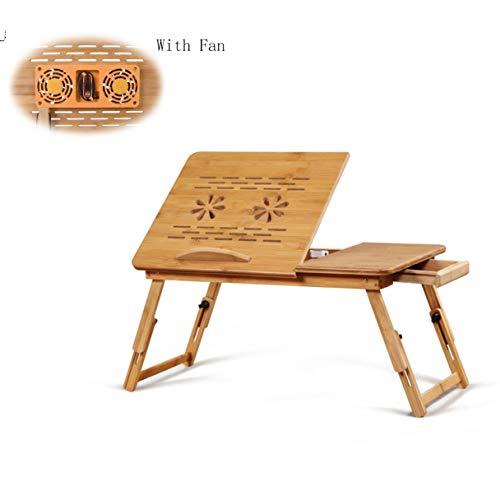cj-CJ Bambus-Laptop-Schreibtisch mit Ventilator,Verstellbares Bett Tisch Tragbare Bett tablett Faltbare Laptop Notebook pc Tisch Computer Schreibtisch-D 55x34x27cm(22x13x11) -