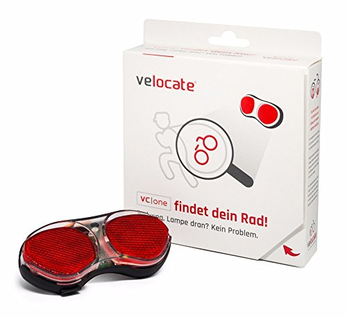 VELOCATE Veloflex Cate GPS Rear Light for Bicycles, anti-theft protection Location Using GPS, Black Red