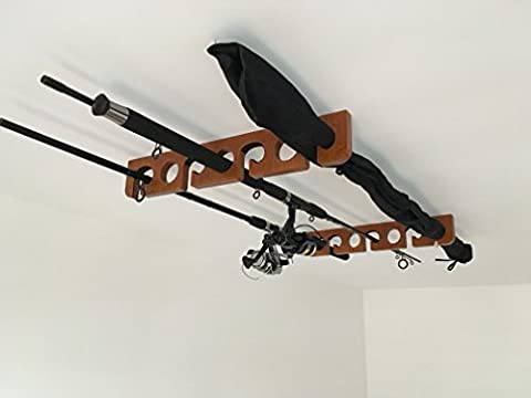 Support à canne à pêche en bois–Support plafond