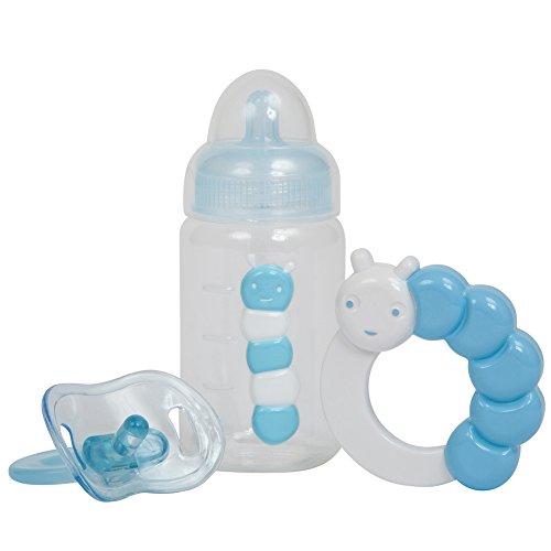 JC JC Toys 3-teilig blau Zubehör Geschenk-Set inkl. Flasche, Schnuller, und Rassel passend für die meisten Puppen – Alter 2 + – Designed by Berenguer Boutique Baby Puppe, Einheitsgröße, blau'