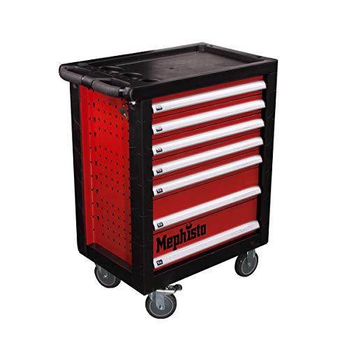 Werkstattwagen Werkzeugwagen mit 7 Schubladen davon 4 Schubladen mit Werkzeug wie Schraubenschlüssel, Ratsche mit Nusskasten, Schraubendreher usw. befüllt von Mephisto