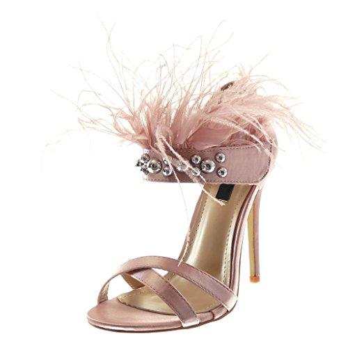 Angkorly - Damen Schuhe Pumpe Sandalen - Stiletto - schick - Sexy - Feder - Perle - Nieten - besetzt Stiletto high Heel 11.5 cm - Rosa B7781 T 38 Rosa Stiletto Heel