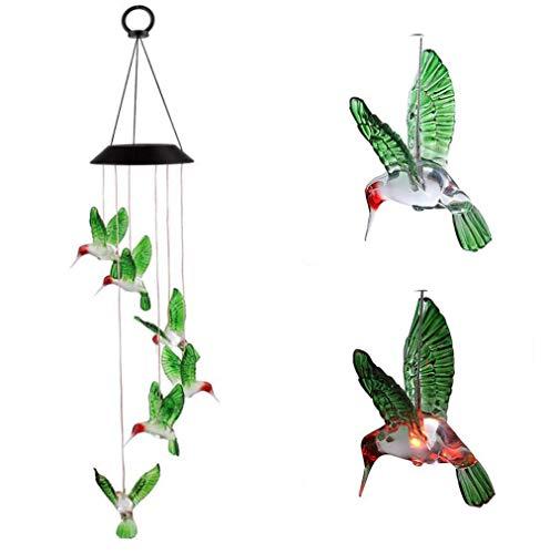 DingSheng Wind Chimes Solar Energy LED-Mobile Windspiel mit wasserdicht Sechs Kolibri für Outdoor für den Gartenbau Beleuchtung Dekoration
