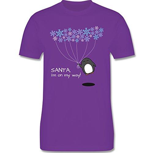 Weihnachten - Santa, i'm on my way! - Snowflakes - Pinguin - Winter - L190 - Premium Männer Herren T-Shirt mit Rundhalsausschnitt Lila