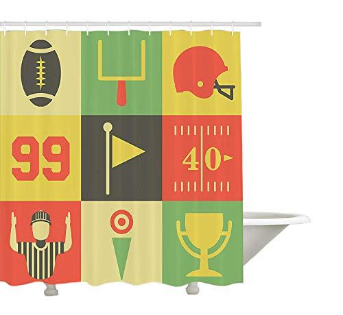 Yeuss Sports D¨¦cor Collection, Collection d'ic?nes de football am¨¦ricain vintage et graphique des illustrations d'image, tissu de polyester de salle de bain Rideau de douche avec ensemble de crochets