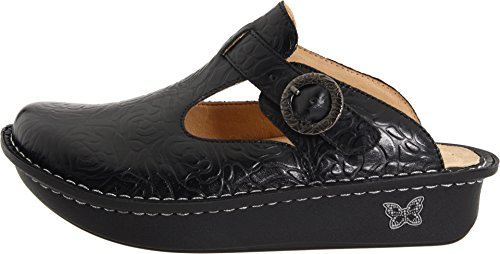 Alegria Classic, Chaussures femme Black Emboss Rose Leather
