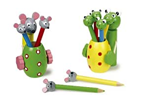Porte-crayon grenouille & souris lot de 2