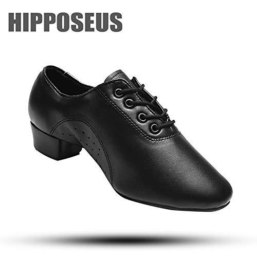 HIPPOSEUS Uomo Ballroom Scarpe da ballo /sala da ballo scarpe/Scarpe da ballo latino standard di Cuoio,Modello-ITTL-Boy, Nero, 36 EU / 23 CM