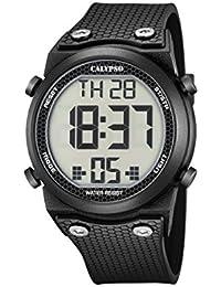Calypso K5705/6 Montre numérique unisexe avec cadran LCD à affichage numérique et bracelet en plastique Noir