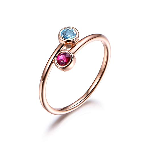 Ring Damen Silberring Celtic Damen 925 Silbering Blau Topas Rund Cut 5mm Blue Bands Rose Gold Plated 53 (16.9) Bandring Hochzeit Valentinstag ()