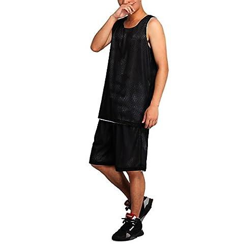 HOEREV hommes réversible Sport Basketball Shorts et chemises, pas de