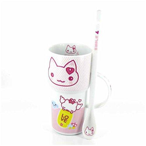 GRAND MUG JAPONAIS KAWAII - Rose - Déco chat rigolo + sa cuillère en porcelaine