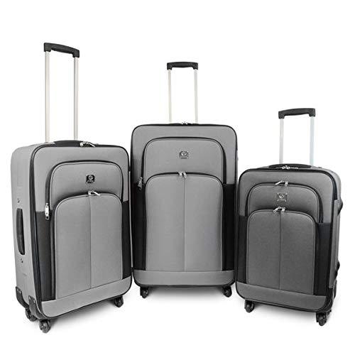 Kinston - Set di 3 valigie morbide con 4 ruote, 61-68-78 cm, colore: Grigio