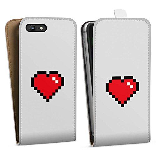 Apple iPhone X Silikon Hülle Case Schutzhülle 8-Bit Heart Herz Liebe Downflip Tasche weiß