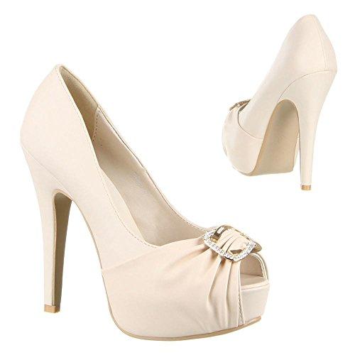 Damen Schuhe, D305, PUMPS Creme