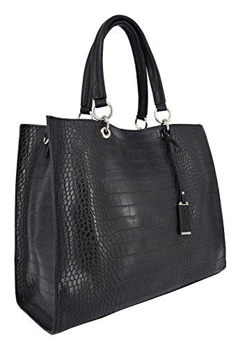 David Jones - Women Top-handle Fashion bag with Croco design - Crocodile print tote handbag - Lady bag - Elegant and stylish - Imitation smooth faux leather - Black Nero