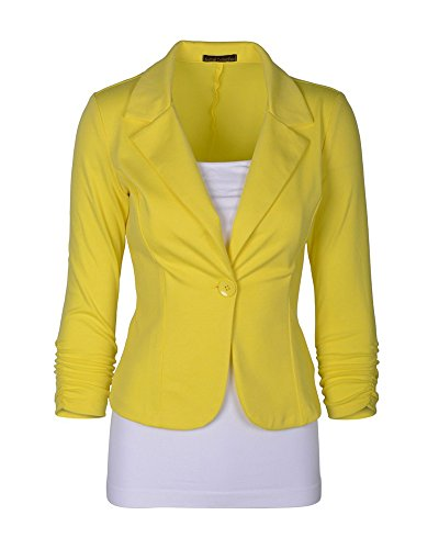 Donna Maniche Lunghe Cardigan Breve Blazer Cappotto Coat Jacket Giacca Outwear Giallo