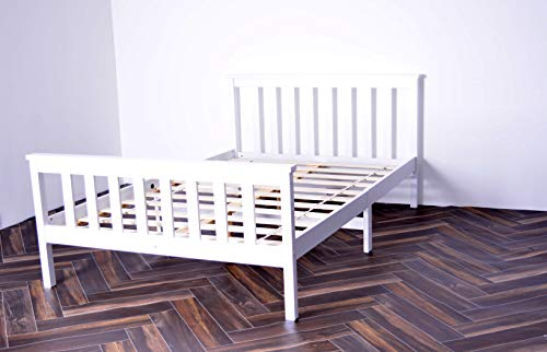 Small Double Bed In White 4Ft Solid Wooden Pinewood Bed Frame For Adults Kids, Teenagers