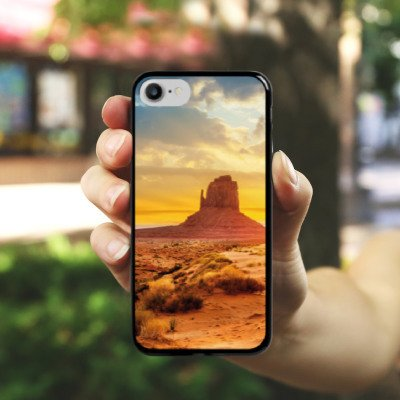 Apple iPhone X Silikon Hülle Case Schutzhülle Sonnenuntergang Amerika Wüste Hard Case schwarz