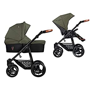 Venicci Gusto 2-in-1 Travel System - Green - with Carrycot + Changing Bag + Footmuff + Raincover + Mosquito Net + 5-Point Harness and UV 50+ Fabric + Cup Holder   12