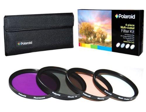 Polaroid 55mm HD Mehrfachbeschichteter / Multicoated Glass 4-Stück-Filterset - Inklusive UV , Zirkular POL , FDL , Warmfilter - und Filtertasche