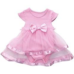 Vestido para Niñas, K-youth® Venta Caliente 2018 Ropa Bebe Niña Recien Nacida Vestido Bebe Chica Bowknot Florales Vestidos de Fiesta Princesa Tutú Para 0-24 meses (Rosa, 3-6 meses)