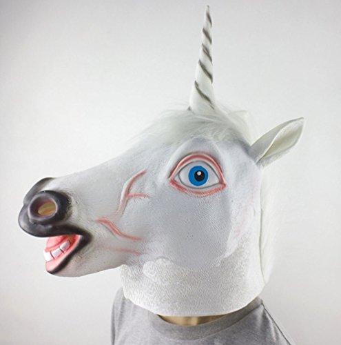 Maschera Unicorno, Testa di animale in lattice Halloween / maschere di fidanzamento maschera