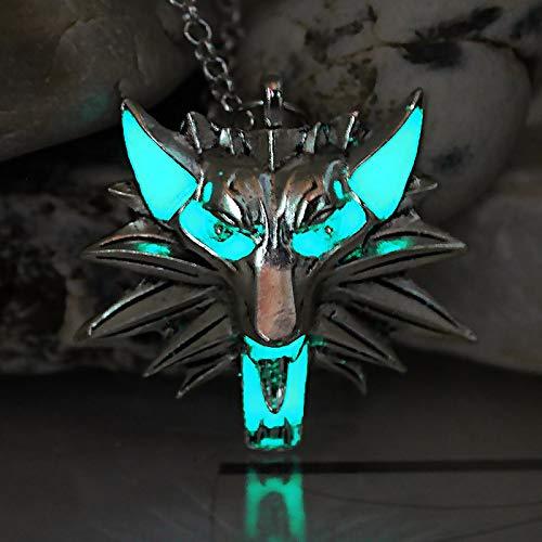 unt Wolf Halskette Pendant Game Of Thrones Stark Twilight Werwolf Necklace Glow In The Dark Night Luminous ()